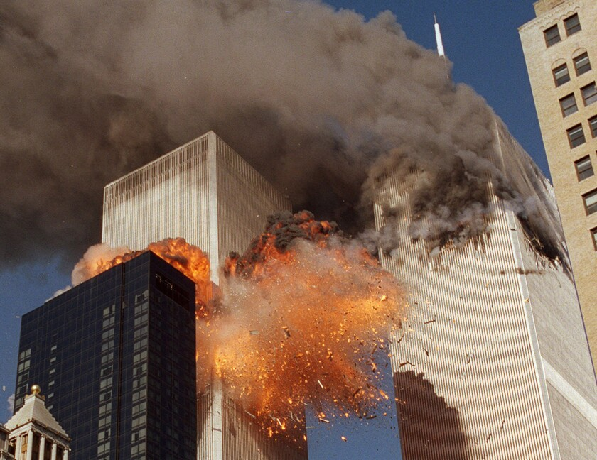 In this Sept. 11, 2001, file photo, smoke billows from one of the towers of the World Trade Center.