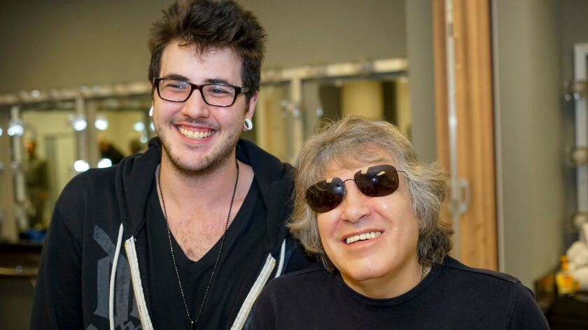 Singer José Feliciano, right, and his son and associate tour manager, Johnnie Feliciano, at Feb. 18