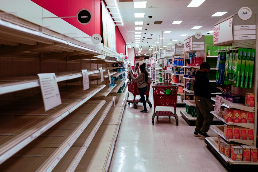 Empty shelves at a Target in Cypress, Calif.