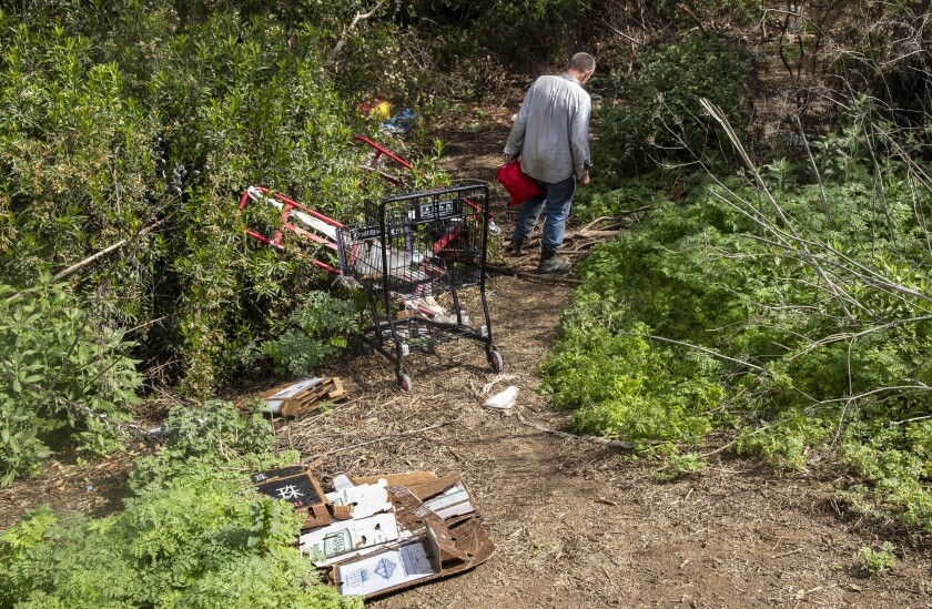 Patrick Moran at a homeless camp in the Sepulveda Basin in Encino.