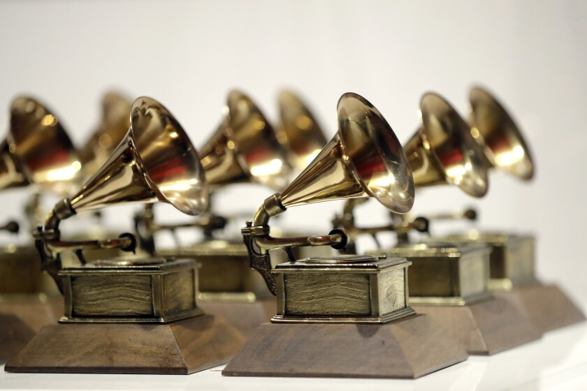 Grammy Awards are displayed at the Grammy Museum Experience at Prudential Center in Newark, N.J.