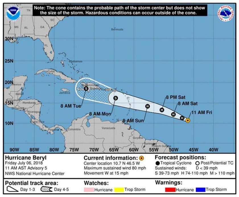 Fotografía facilitada por la Administración Nacional de Océanos y Atmósfera (NOAA) muestra un mapa del pronóstico del centro del huracán Beryl, en Estados Unidos. EFE/ NOAA / SÓLO USO EDITORIAL, FOTO CEDIDA, NO VENTAS