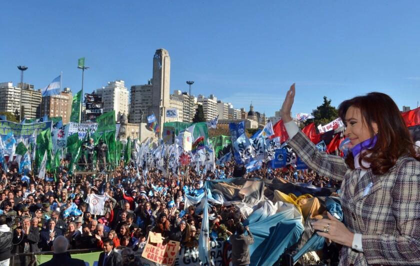 Argentine President Cristina Fernandez de Kirchner arrives at the Flag Monument in Rosario to celebrate Flag Day on June 20.
