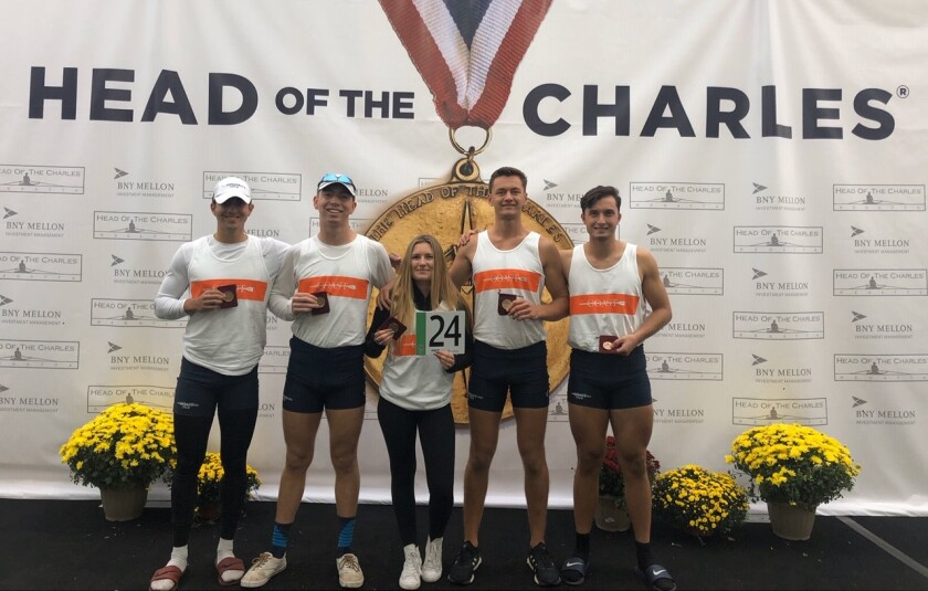 The men's crew from Orange Coast College took second at the Head of the Charles Regatta in Boston.