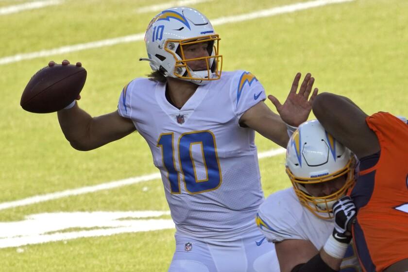 Chargers quarterback Justin Herbert throws against the Denver Broncos on Nov. 1, 2020.