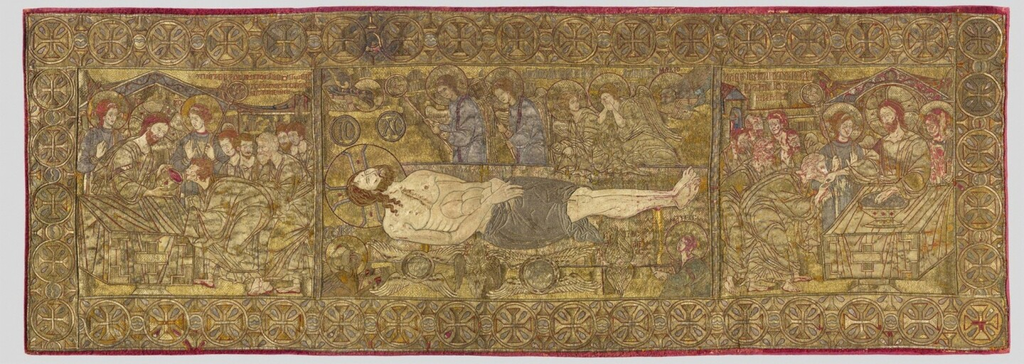 A silk and linen embroidered tapestry circa 1300 depicts Christ on a slab with Communion symbols of the body and blood surrounding the main image.