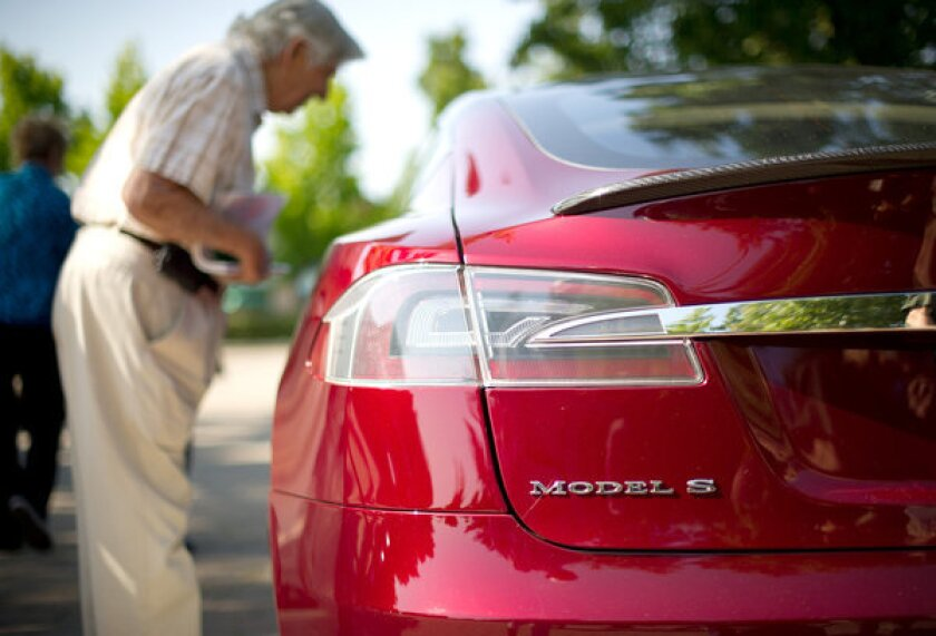Tesla Model S at carmaker's annual meeting