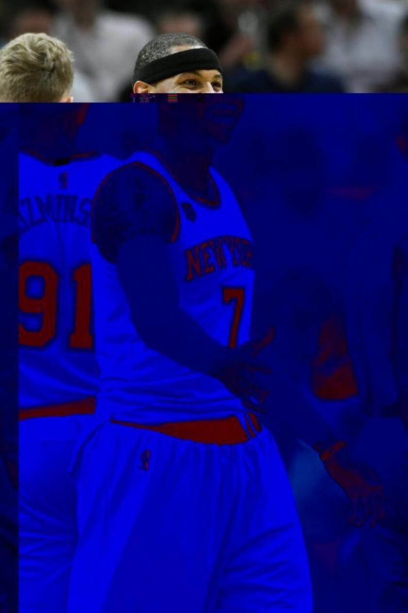 Carmelo Anthony de New York Knicks celebra ante Miami Heat en un juego de la NBA. EFE/Archivo