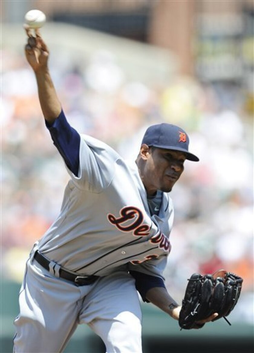Detroit Tigers pitcher Edwin Jaskson works against the Baltimore Orioles in the third inning of a baseball game Sunday, May 31, 2009 in Baltimore. (AP Photo/Gail Burton)