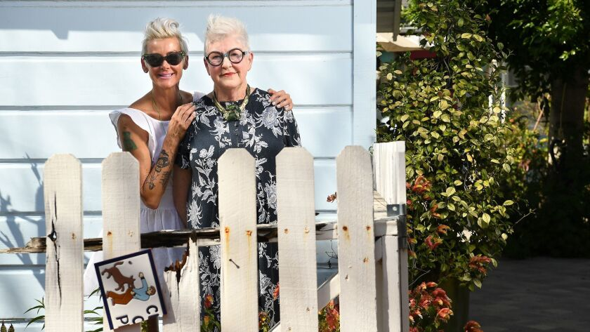 PASADENA, CALIFORNIA APRIL 10, 2018-Maren McMillan hugs her mother Patsy Spitta in the backyard of P