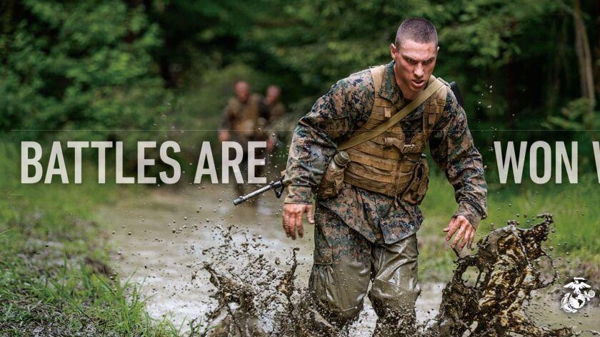 "Billboard image for Marine Corps' ""Battles Won"" campaign"