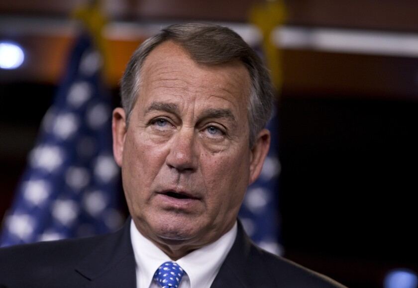 House Speaker John A. Boehner (R-Ohio) speaks during a news conference on Capitol Hill in Washington, on Aug. 1, 2013.