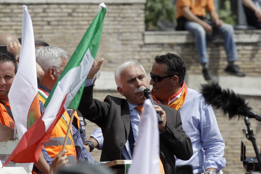 Virus Outbreak Italy Protest
