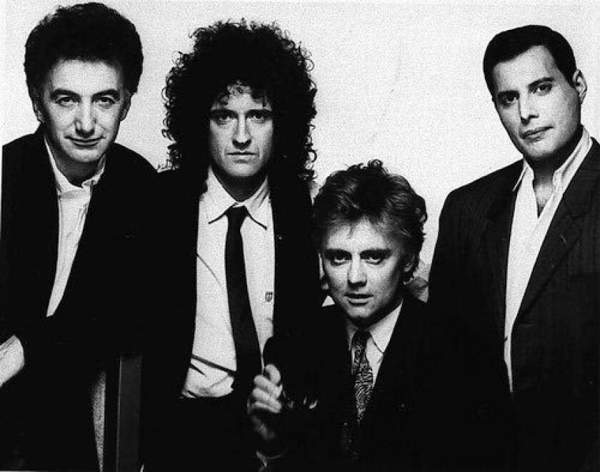 The rock group Queen: (from left) John Deacon, Brian May, Roger Taylor and Freddie Mercury in a 1989 photo.