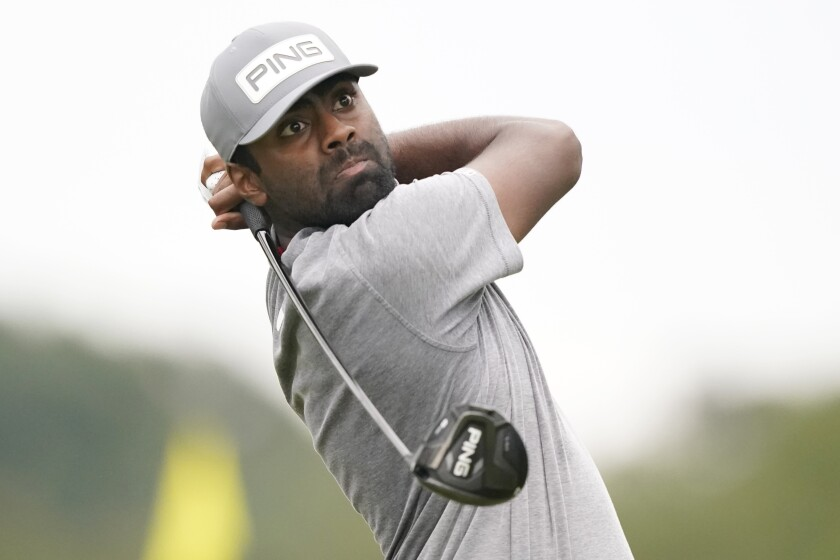 Sahith Theegala tracks his drive from the 18th tee box during the third round of the Sanderson Farms Championship golf tournament in Jackson, Miss., Saturday, Oct. 2, 2021. (AP Photo/Rogelio V. Solis)