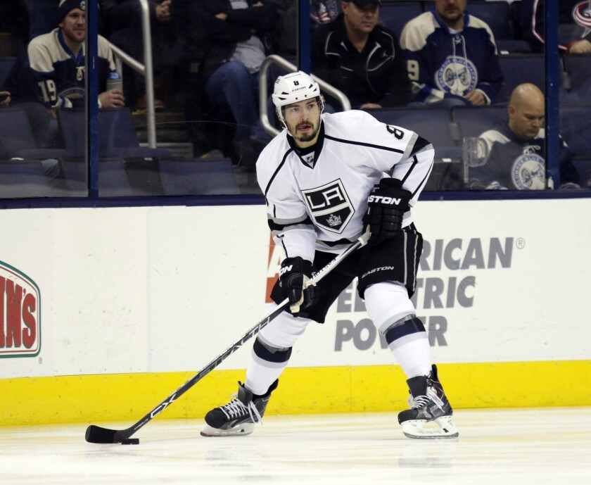 Kings defenseman Drew Doughty carries the puck against the Blue Jackets during a game on Dec. 8.