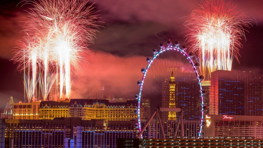 The fireworks of America's Party 2018 explode over the Las Vegas Strip to welcome the new year in th