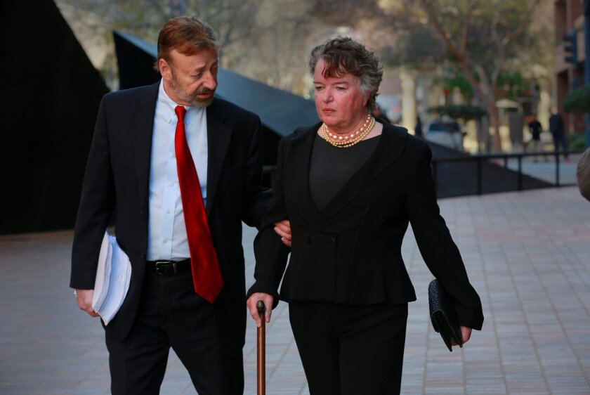 Former San Diego mayor Maureen O'Connor appeared in federal court Thursday to plead not guilty on a money laundering charge. She is accused of embezzling money from non-profit organizations to fuel a gambling habit. She was accompanied by her attorney Eugene Iredale.