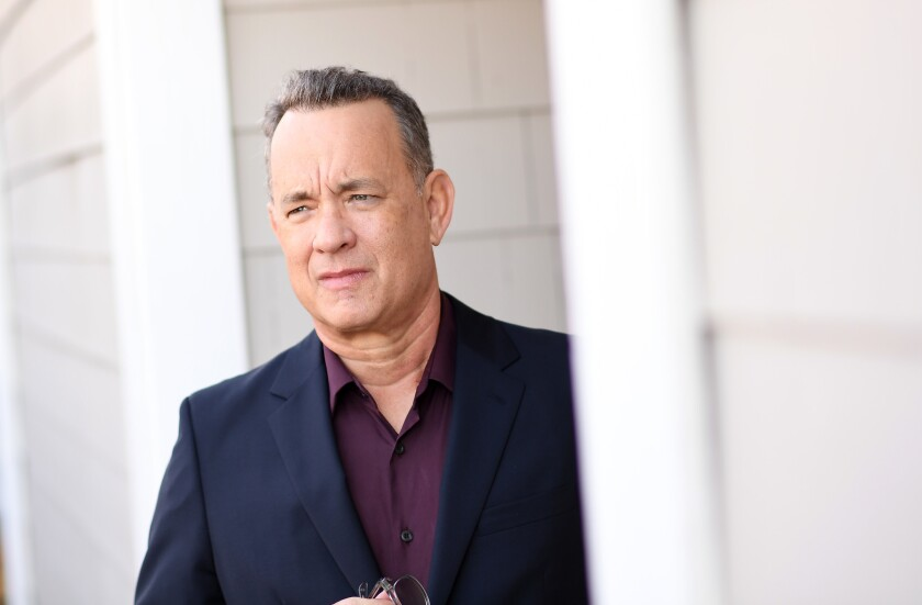 """Tom Hanks, shown this month in Santa Monica. His work as Washington Post editor Ben Bradlee in """"The Post"""" has placed the actor not only in awards-season conversation but in the thick of the current political debate."""