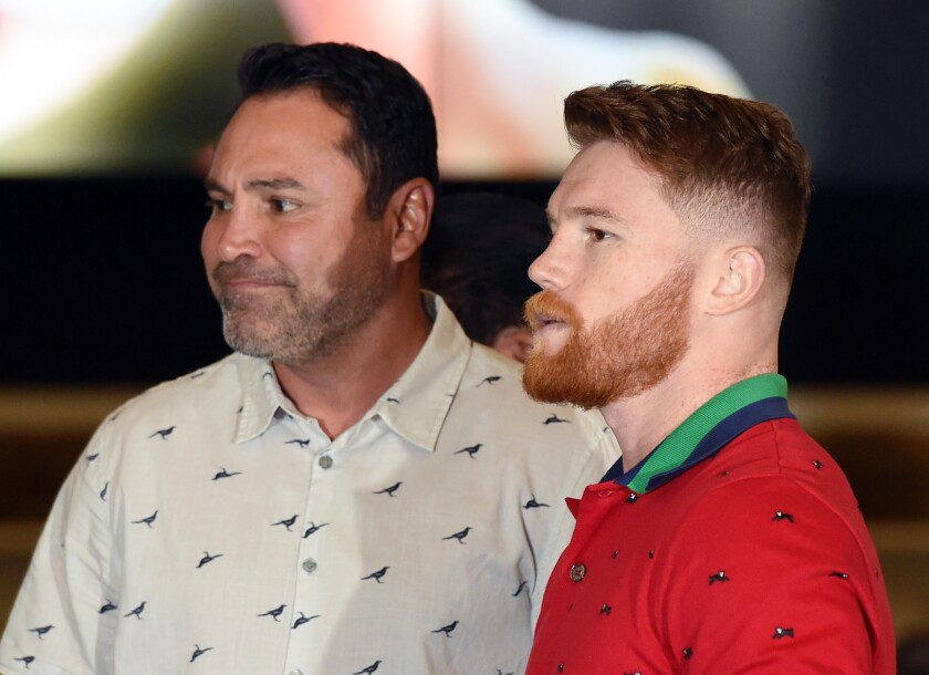 Column: Oscar De La Hoya strikes back at perception his fighters are sparring with him
