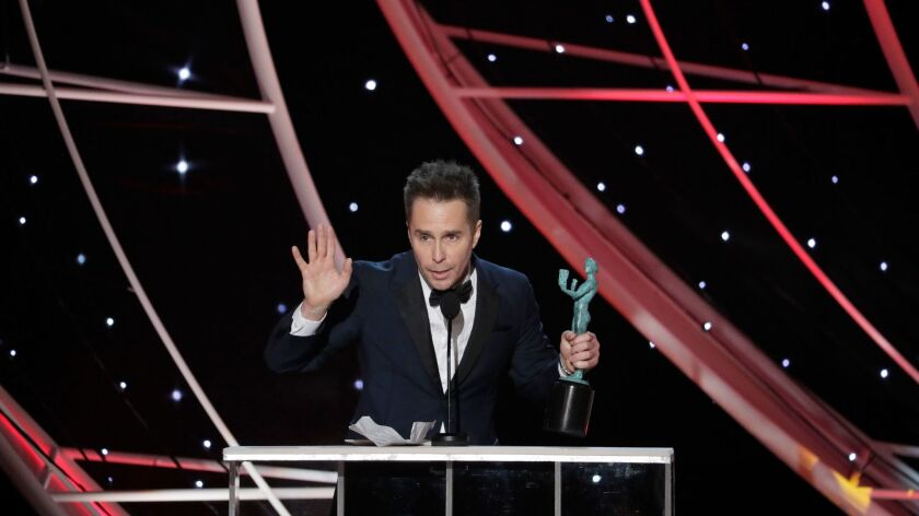 "LOS ANGELES, CA - January 21, 2018- Sam Rockwell, ""Three Billboards Outside Ebbing, Missouri"" with S"