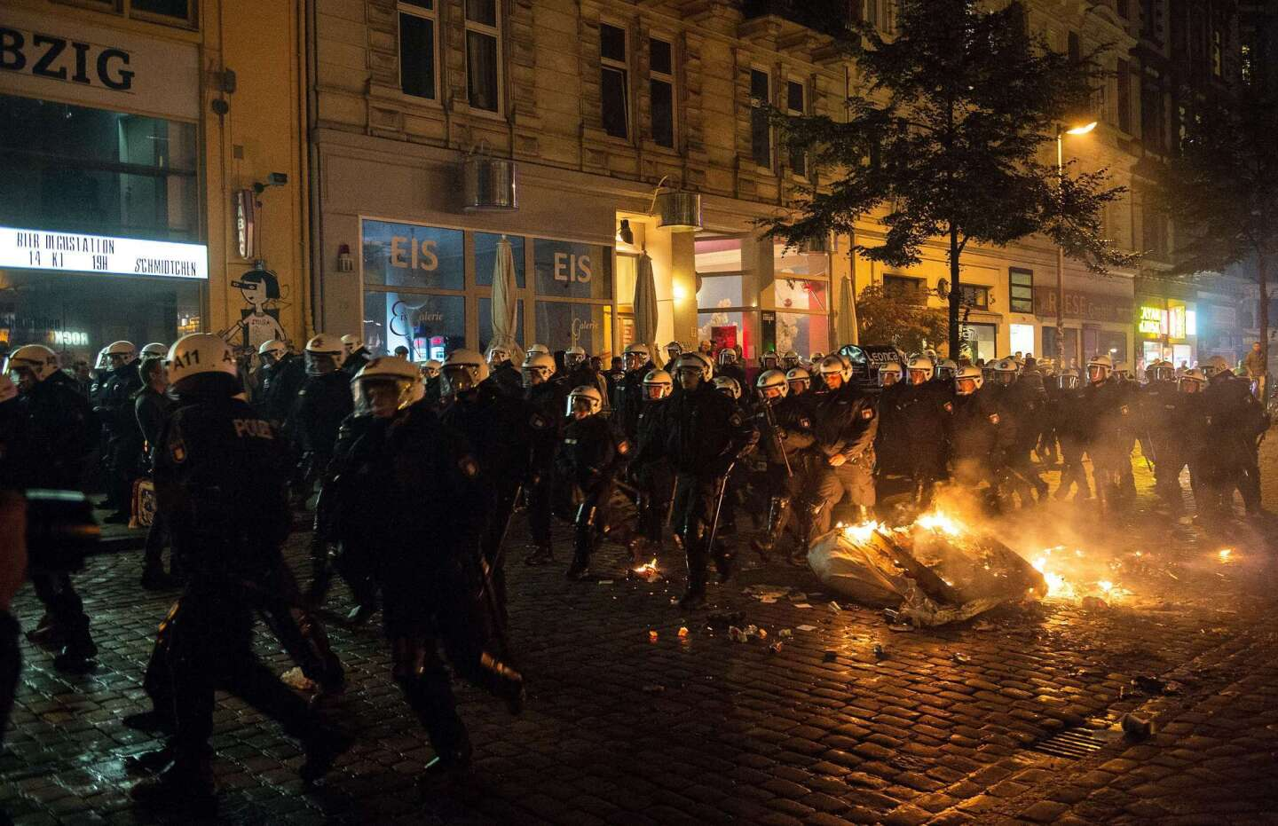 Riot police clash with far-right protesters in Hamburg, Germany, on Sept. 12.