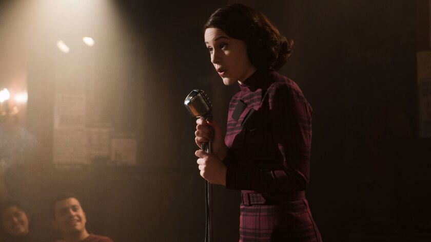 "This image released by Amazon shows Rachel Brosnahan as Midge Maisel in ""The Marvelous Mrs. Maisel."""
