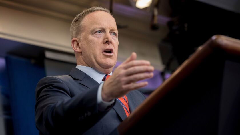 White House press secretary Sean Spicer talks to the media during the daily press briefing at the White House in Washington on April 11.