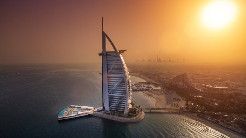 An aerial view at sunset of the new Terrace at the Burj Al Arab Jumeirah.