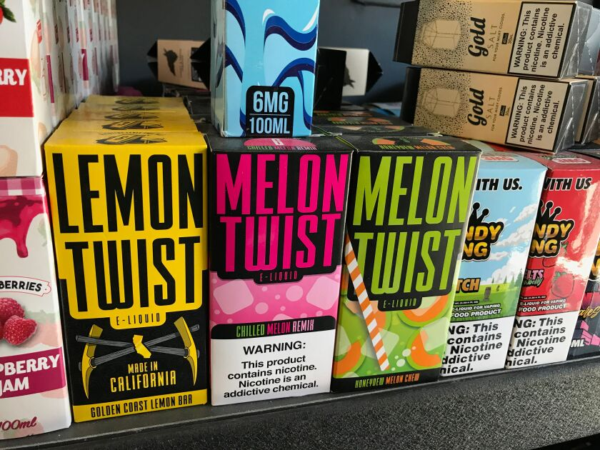 Flavored vaping products in a store in Los Angeles.