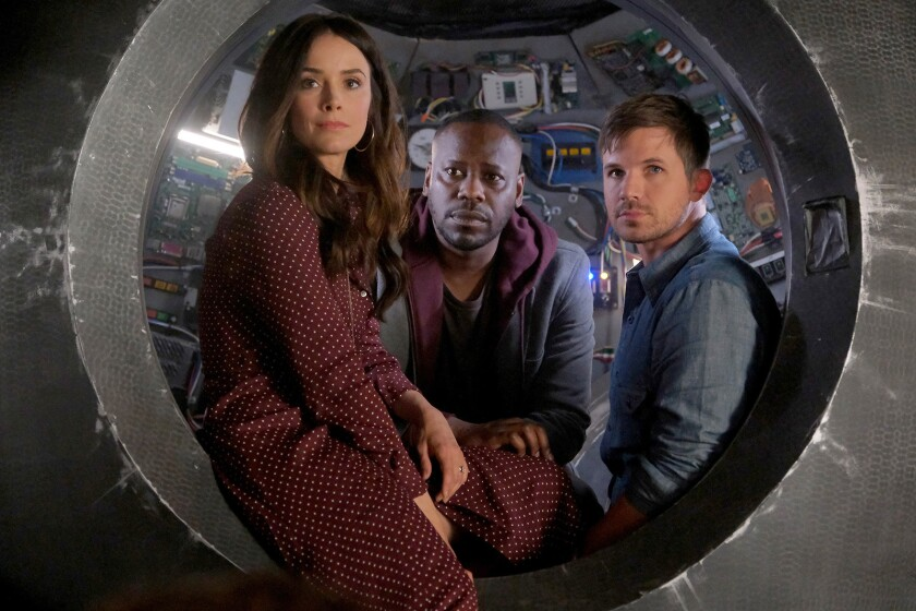 """The sci-fi drama """"Timeless"""" returns for a two-hour finale on NBC. With Abigail Spencer, left, Malcolm Barrett and Matt Lanter."""
