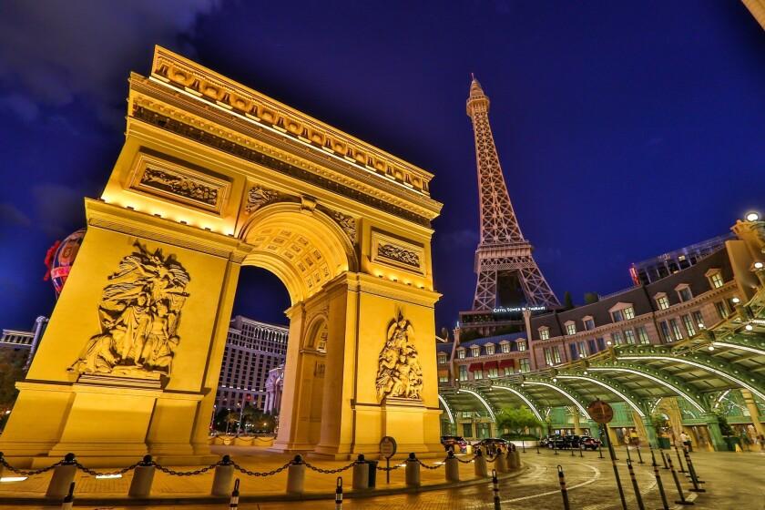 Paris Las Vegas, with its replicas of the Arc de Triomphe and the Eiffel Tower.
