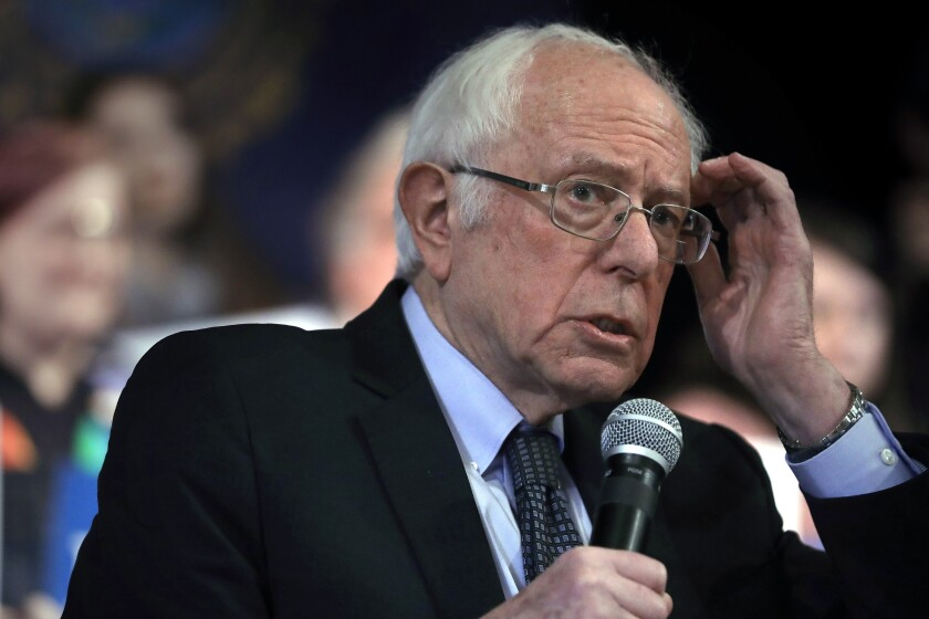 Democratic presidential candidate Sen. Bernie Sanders, I-Vt., addresses an audience during a campaign rally, Wednesday, Feb. 5, 2020, in Derry, N.H. (AP Photo/Steven Senne)