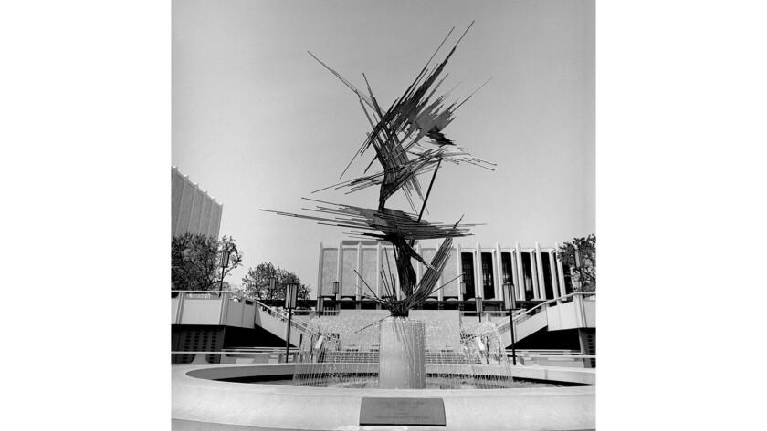 "LACMA's original entrance sculpture, ""Space Sculpture"" by Norbert Kricke, didn't fare as well as Chris Burden's ""Urban Light"" has."