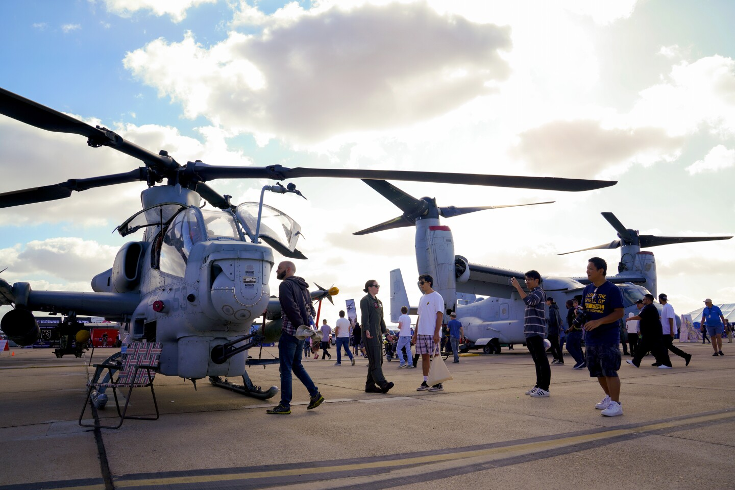 On Sunday at the Miramar Air Show the public looked over the Marines AH-1Z Super Cobra/Viper and an MV-22 Osprey.