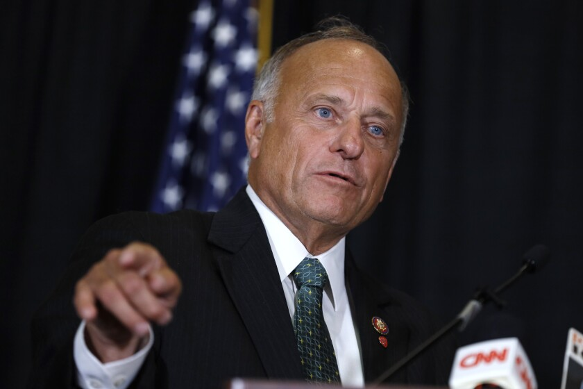 FILE - In this Aug. 23, 2019, file photo, Rep. Steve King, R-Iowa, speaks during a news conference in Des Moines, Iowa. King is on the outs with a significant bloc of his long-reliable conservative base, but not for almost two decades of incendiary utterances about abortion, immigrants and Islam. (AP Photo/Charlie Neibergall, File)