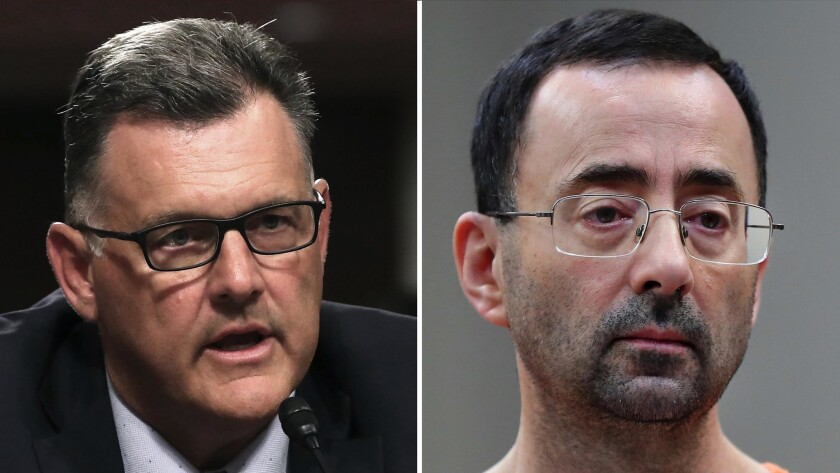 Steve Penny, left, former president of USA Gymnastics, and imprisoned gymnastics doctor Larry Nassar.