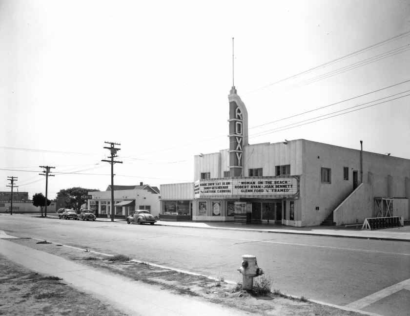 Pacific Beach's Roxy Theater is pictured in 1947.