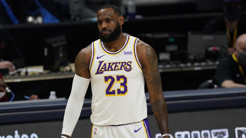 LeBron James on court.