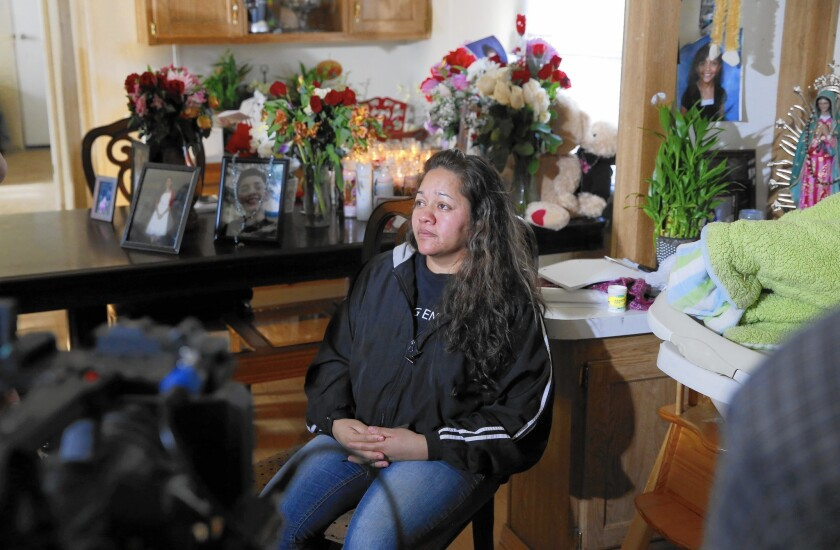 """""""The unjustified shooting of our daughter is only the latest sign of an issue that requires federal oversight,"""" Laura Sonia Rosales, pictured, and Jose Hernandez said in a statement. Rosales' daughter, Jessica Hernandez, 17, was fatally shot in January while behind the wheel of a stolen car."""