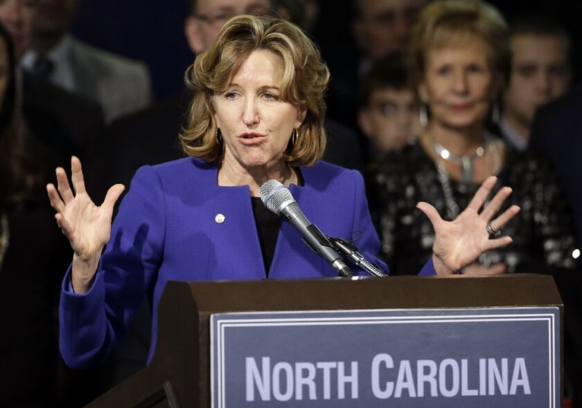 Sen. Kay Hagan (D-N.C.), one of the centrist Democrats who lost their Senate seats on Tuesday, gives her concession speech in Greensboro, N.C.