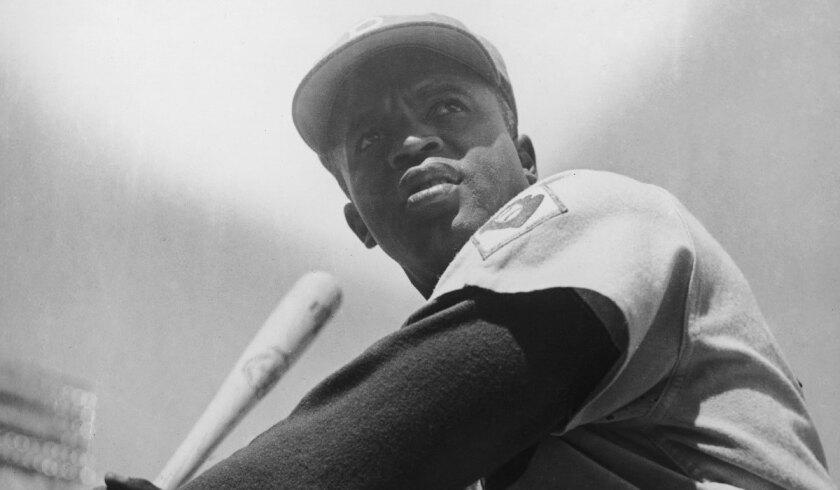 Jackie Robinson of the Brooklyn Dodgers, circa 1950.