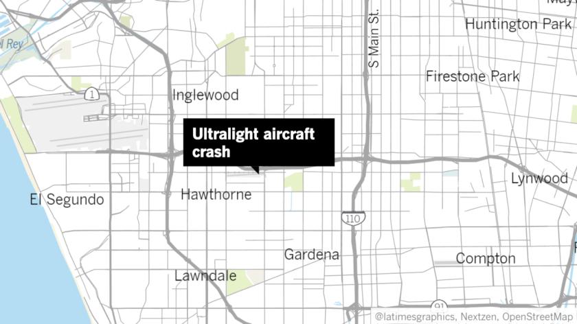 An ultralight aircraft crashed at Hawthorne Municipal Airport on Sunday.