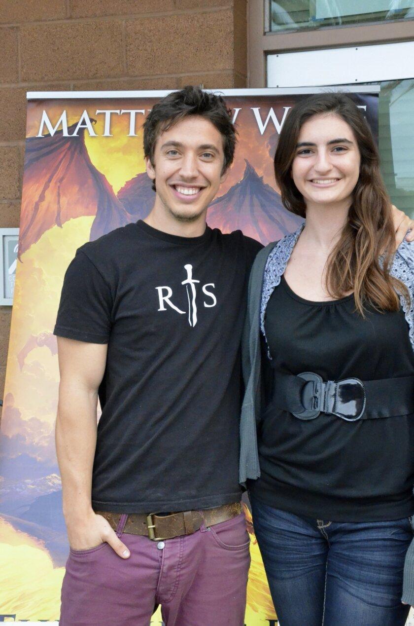 Julia Camilleri, club organizer, with local author Matthew Wolf.