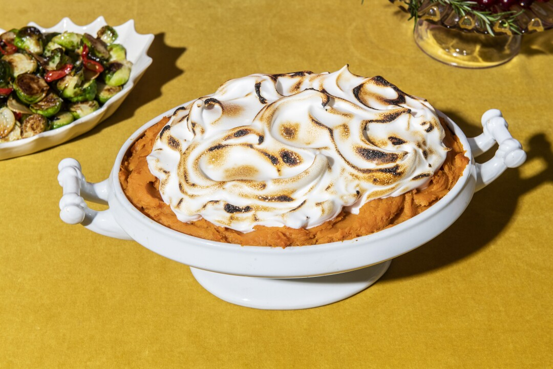 Smashed Sweet Potatoes With Torched Meringue