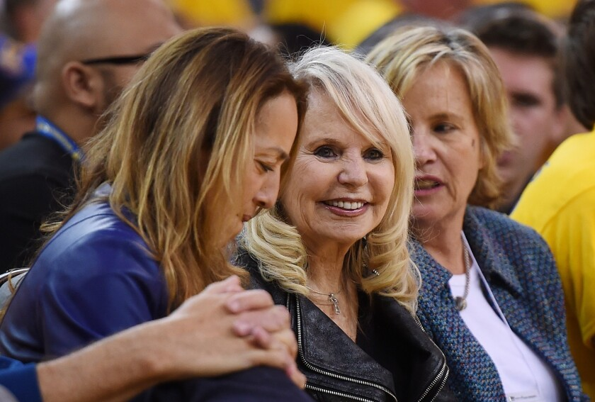 """Rochelle """"Shelly"""" Sterling, center, was at Oracle Arena on Sunday to watch the Clippers-Warriors game. She also attended Tuesday's game at Staples Center."""