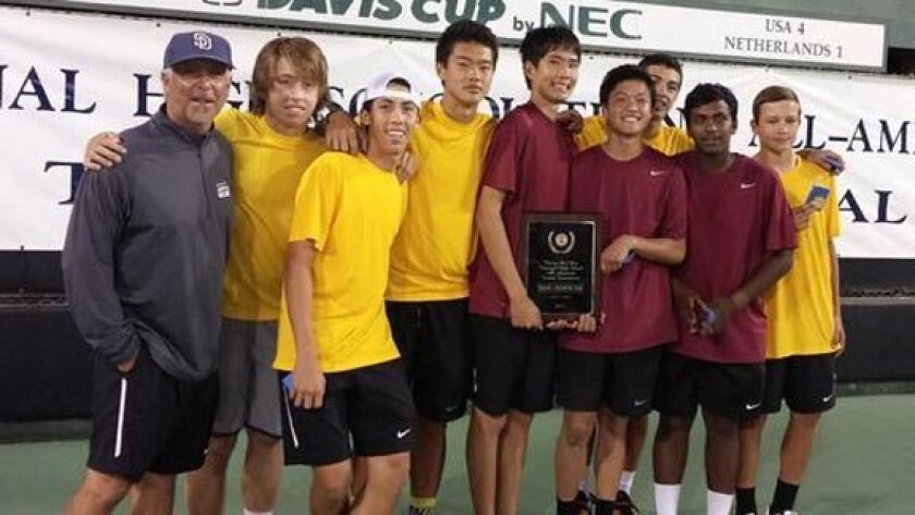 The Torrey Pines boys' tennis team won a national tournament and also the CIF Southern California Division I championship. Photo: tphsfalconer.com.