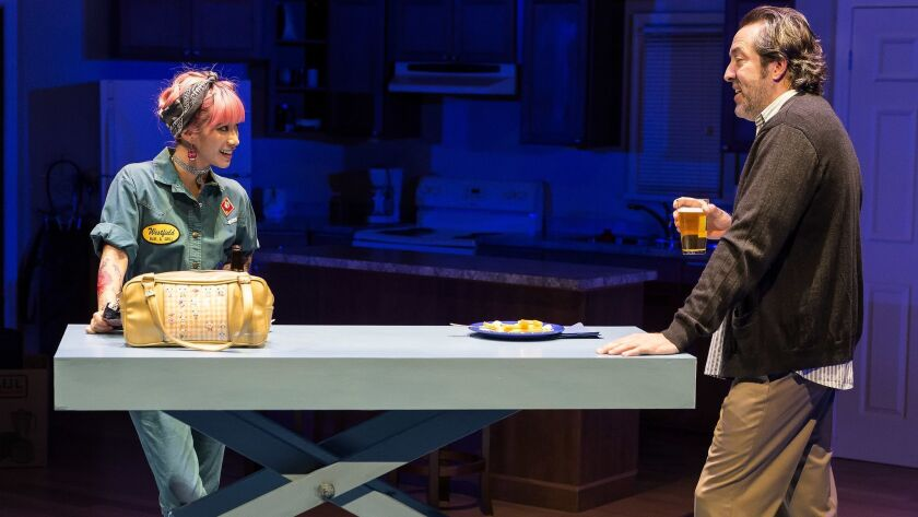 "Chantal Thuy and Ian Barford in the Steppenwolf Theatre Company production of Tracy Letts' ""Lind"