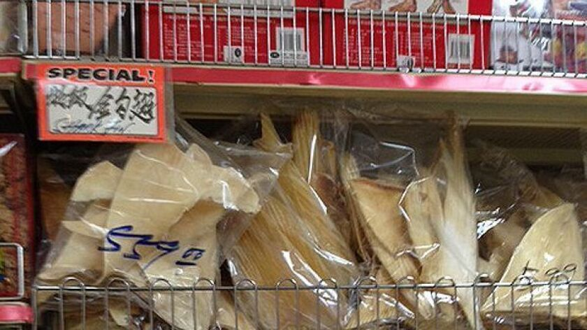 Shark fins for sale in Los Angeles' Chinatown before California's ban took effect in 2013.