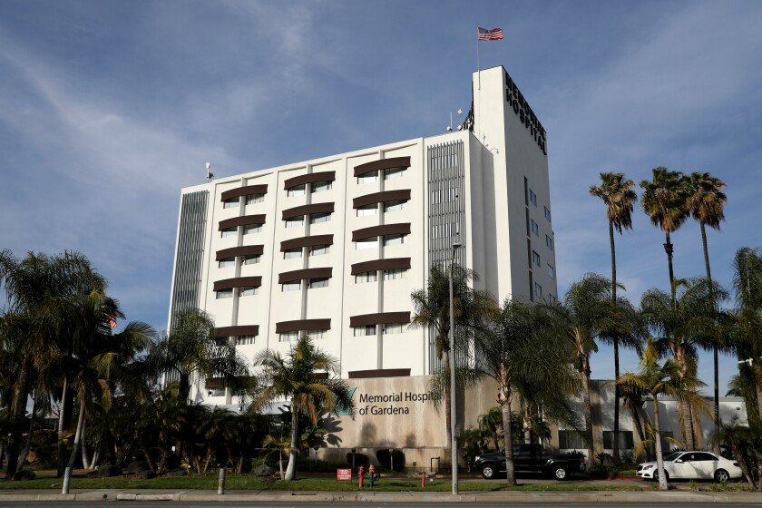 Memorial Hospital of Gardena's ICU is operating at 320% occupancy, officials said Wednesday.